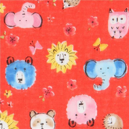 red Kokka double gauze bear elephant lion animal fabric from Japan