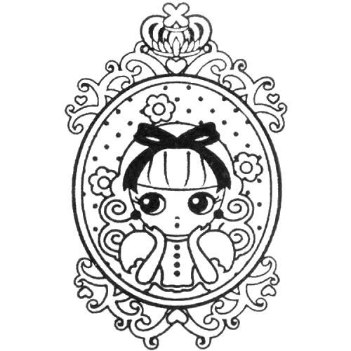 cute princess stamp girl with frame