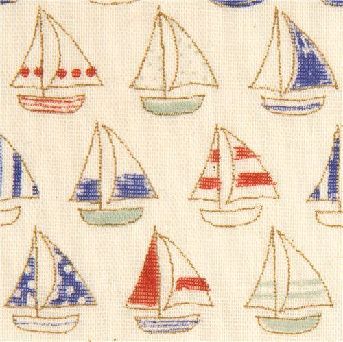 fine sail boat fabric by Kokka from Japan
