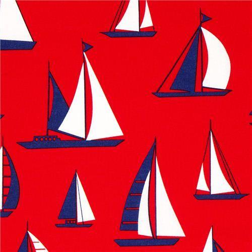 red Timeless Treasures sailing ship fabric USA