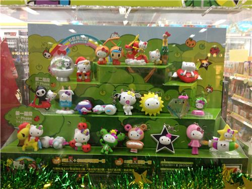 all the different Hello Kitty charms in the 7-Eleven stores