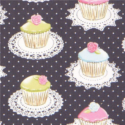 grey Michael Miller fabric with cupcakes dots