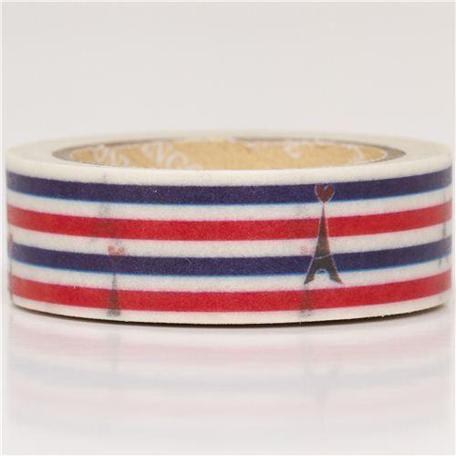Eiffel Tower & stripes Washi Masking Tape deco tape