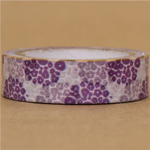 white Washi Masking Tape deco tape with purple flowers