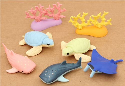 Aquarium Sea Animals Iwako erasers set 7 pieces from Japan