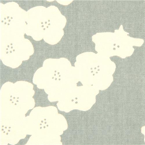 blue-grey poppy flower canvas organic fabric birch USA