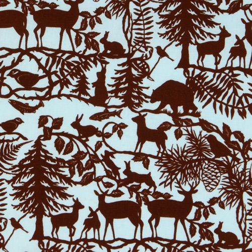 blue forest animals fabric Into The Woods USA designer