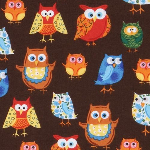 brown owls fabric Woodland Friends USA designer