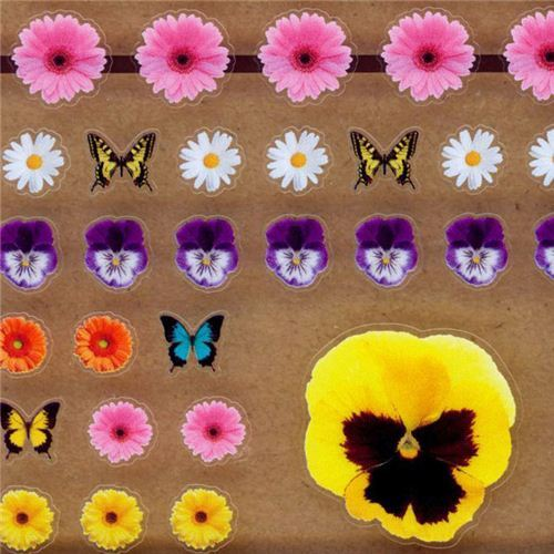kawaii flower butterfly stickers by Q-Lia