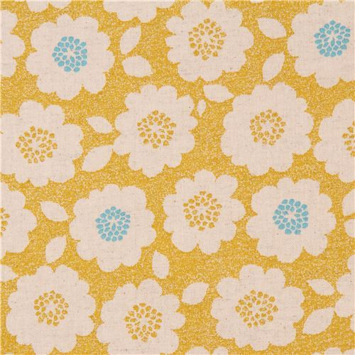 yellow Canvas fabric natural color flower Kokka Japan