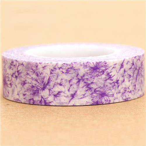 white Washi Masking Tape deco tape purple flowers