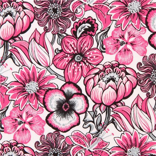 white pink flower fabric Marseille Blank Quilting USA