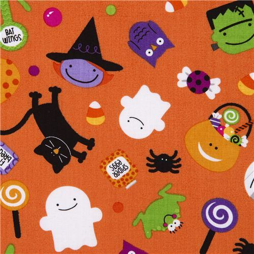 orange Riley Blake Halloween fabric ghosts spiders