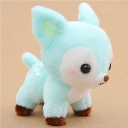 small turquoise cute deer Koijika no Latte plush toy Japan