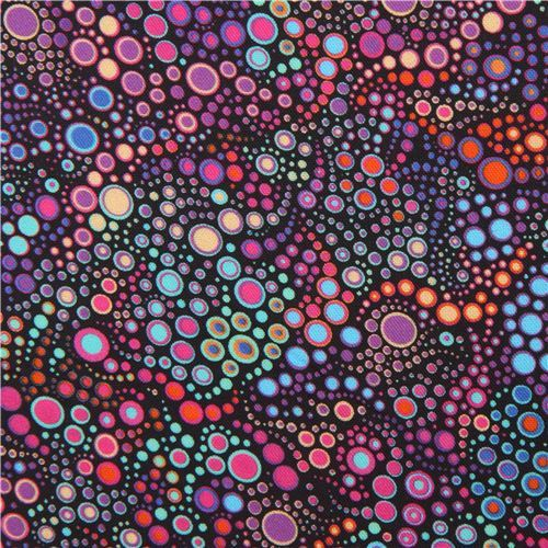 purple orange circle dot bubble fabric Robert Kaufman Effervescence Digital