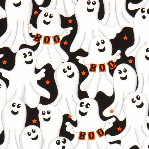 black Halloween designer fabric with ghosts Boo star