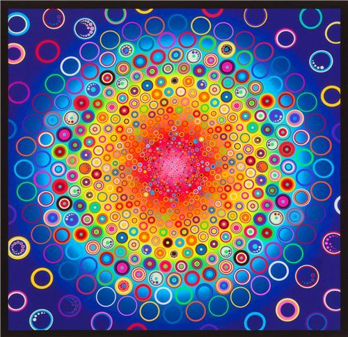 Robert Kaufman rainbow color Effervescence Digital Panel fabric