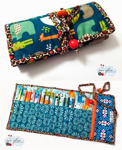 Super pretty pencil case made by Per sfizio ma non solo with many of our fabrics