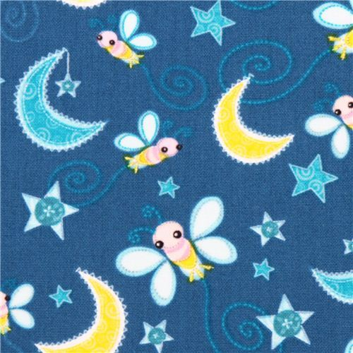 blue night moth animal fabric Camelot Dream a Little Dream