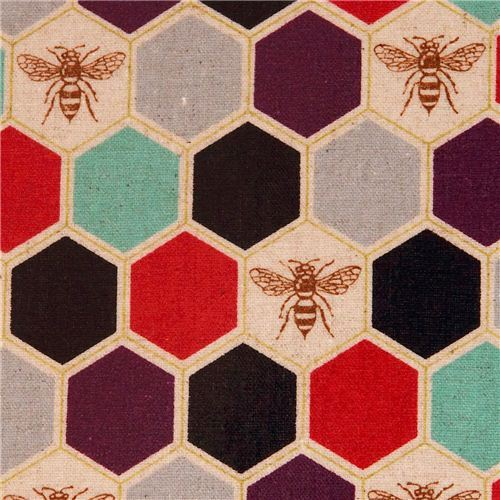 bee echino Canvas laminate fabric black red honeycomb