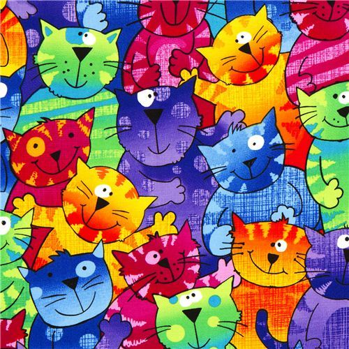 colored designer fabric with funny colourful cats