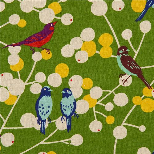 green echino birds and berries laminate fabric cherry