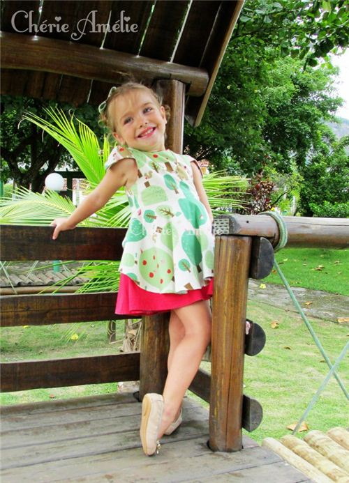 Cherie AMelie from Portugal made this adorable dress for girls with our Kokka fabric