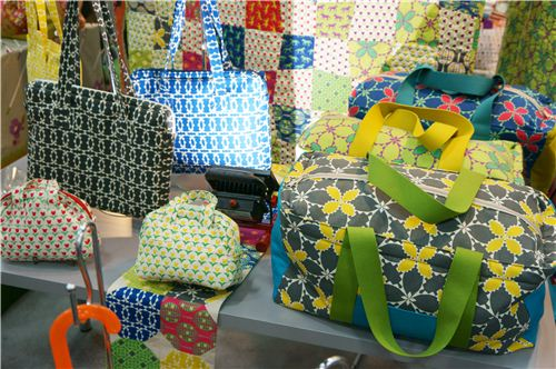 Lovely bags made with fabrics from the Folk Modern collection