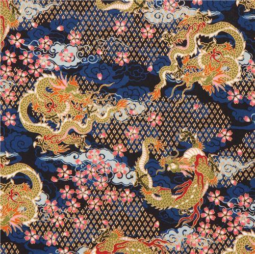 navy blue colorful dragon flower cloud gold metallic embellishment fabric