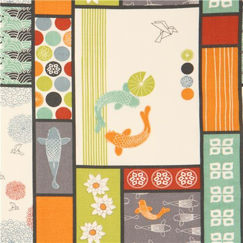 Patchwork Koi fish flower origami organic fabric birch USA