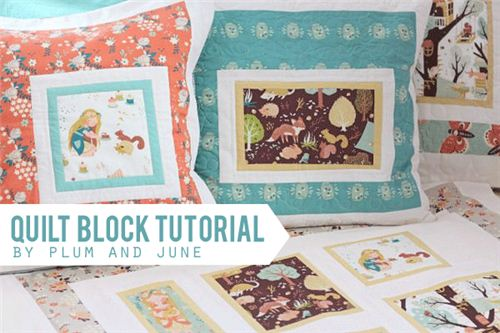 Tutorial for throw pillows by Plum and June with birch fabrics