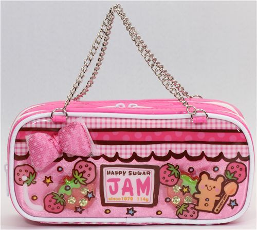 cute pink strawberry pencil case kawaii