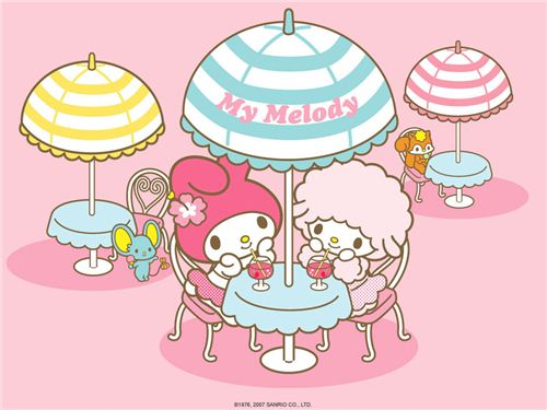 My Melody wallpaper with a cool summer dring found on kawaiiwallpapers.com