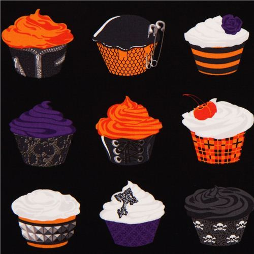 black Michael Miller Halloween fabric with cupcakes