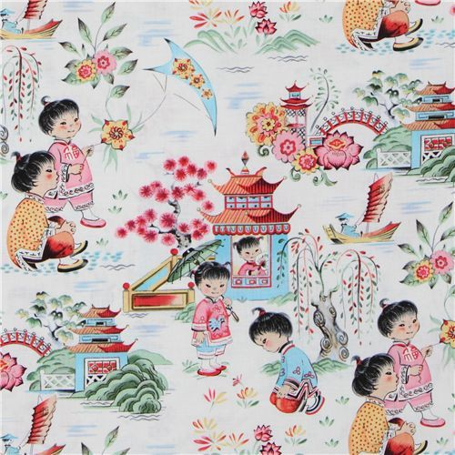 Michael Miller designer fabric Chinese Kids