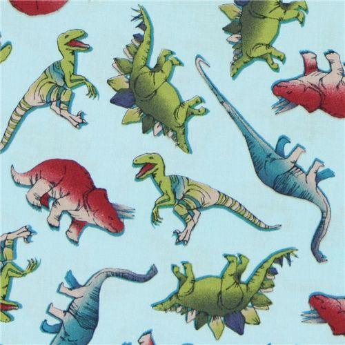 blue Michael Miller fabric dinosaurs dinos