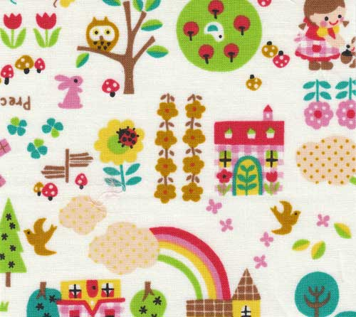 Kokka fabric with cute animals and garden