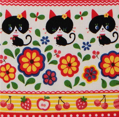 Kokka fabric black kitty