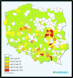 Mapa występowania nazwiska SZELĄG