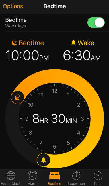 iPhone bedtime clock
