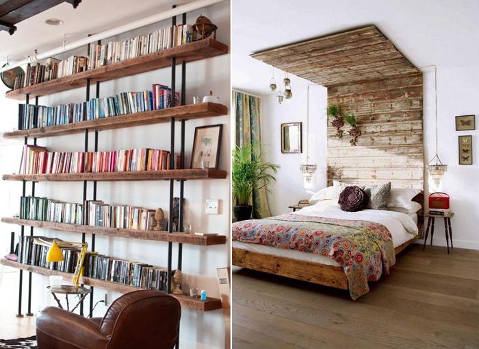 decoração de quarto com móveis rústicos prateleiras