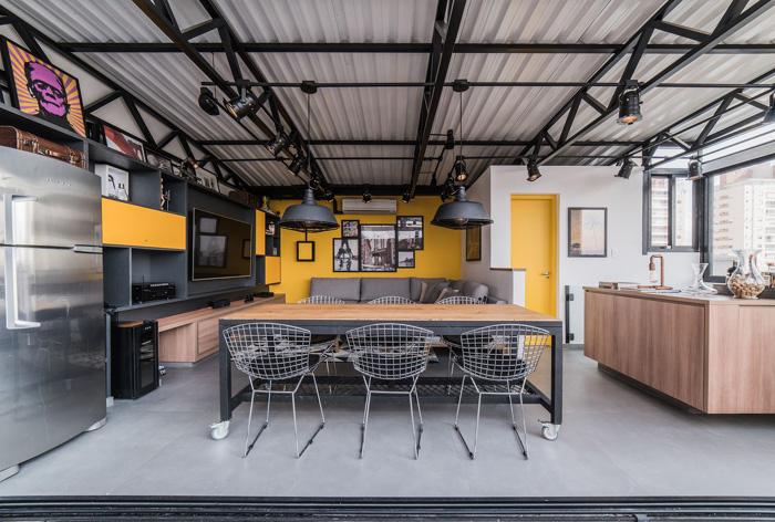 estilo industrial cozinha aberta
