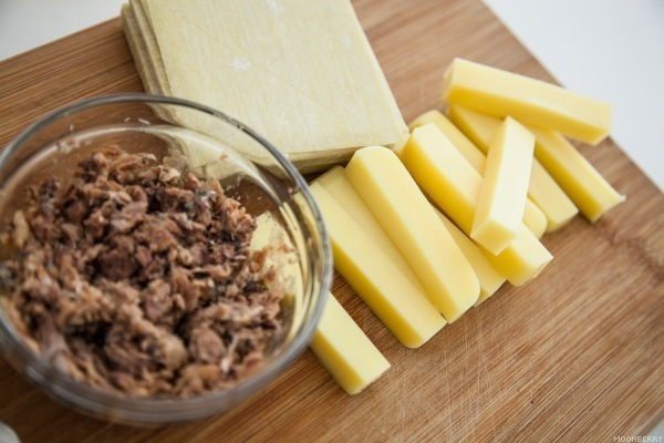 Cheesy Sardine Wonton Rollups