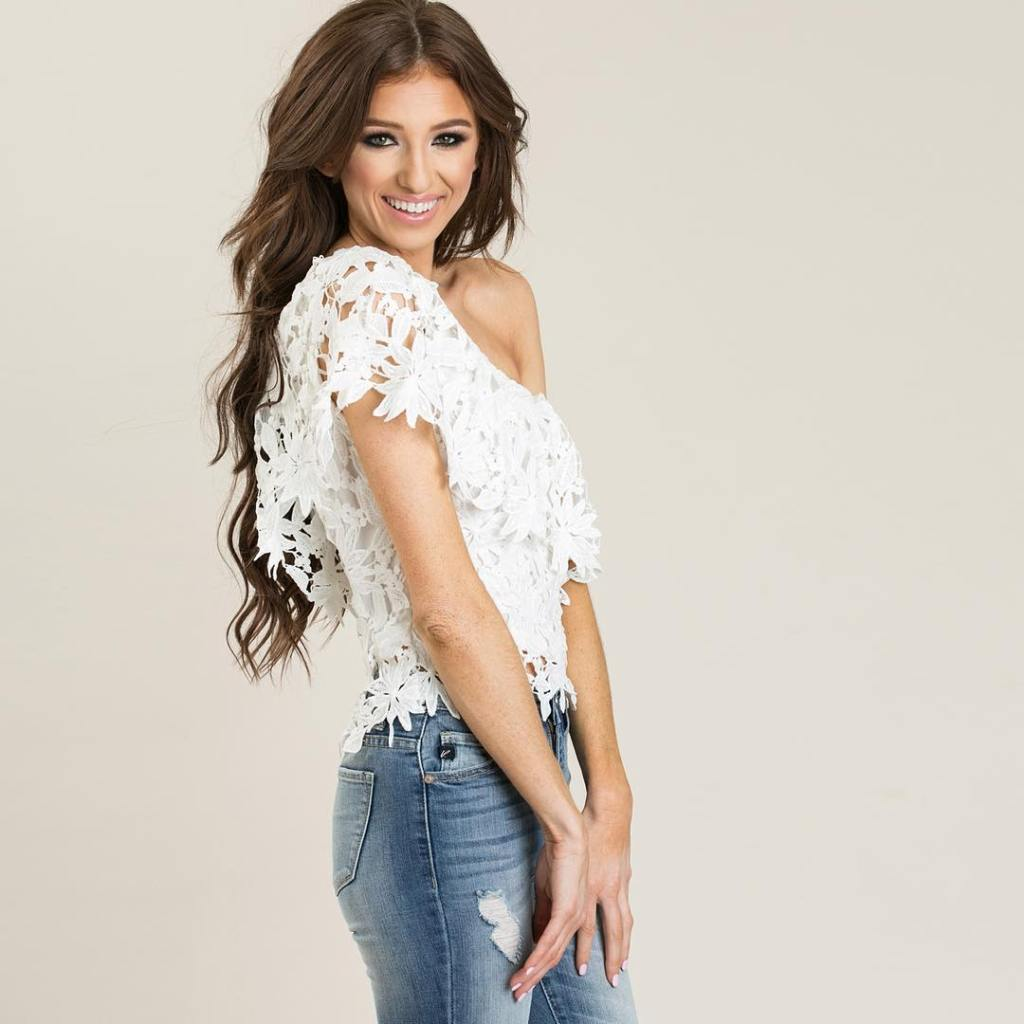 a flirty one shoulder and crocheted lace makes such ahellip