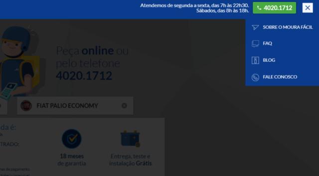 página mostrando outras funcionalidades do mourafacil.com além da entrega de bateria