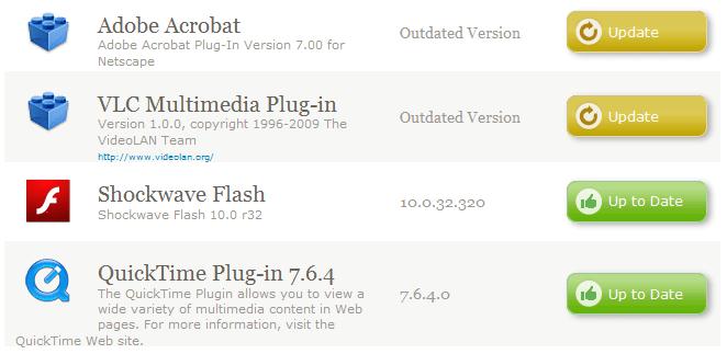 Plugin list with update information