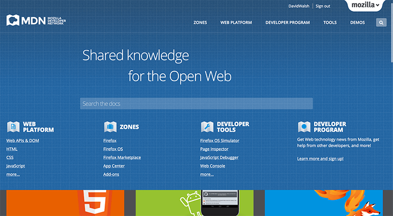 Picture of Mozilla Developer's Network