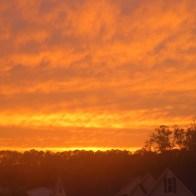 Sun setting in the neighborhood