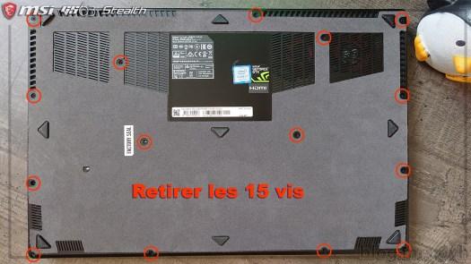 Vis capot MSI GS63 7RD Stealth