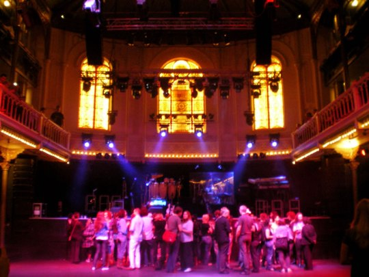 The stage at Paradiso, about 1 hour before the concert